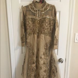 Metallic gold Anarkali suit